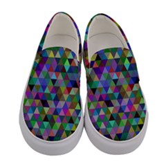 Triangle Tile Mosaic Pattern Women s Canvas Slip Ons