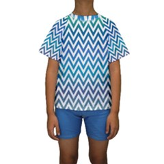 Blue Zig Zag Chevron Classic Pattern Kids  Short Sleeve Swimwear