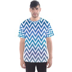 Blue Zig Zag Chevron Classic Pattern Men s Sports Mesh Tee