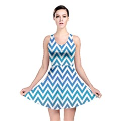 Blue Zig Zag Chevron Classic Pattern Reversible Skater Dress