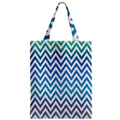Blue Zig Zag Chevron Classic Pattern Zipper Classic Tote Bag