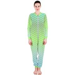 Green Line Zigzag Pattern Chevron Onepiece Jumpsuit (ladies)