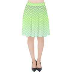 Green Line Zigzag Pattern Chevron Velvet High Waist Skirt