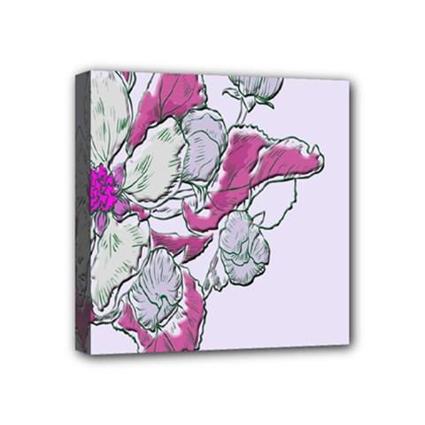 Bouquet Flowers Plant Purple Mini Canvas 4  X 4