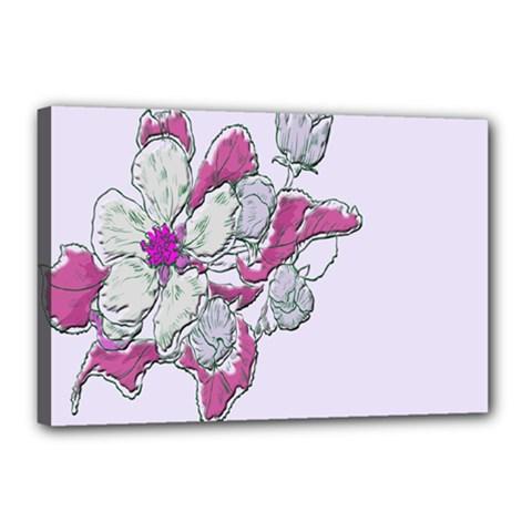 Bouquet Flowers Plant Purple Canvas 18  X 12