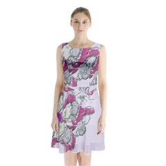 Bouquet Flowers Plant Purple Sleeveless Waist Tie Chiffon Dress