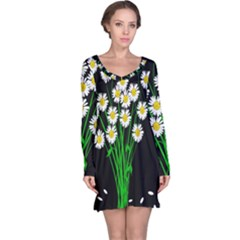 Bouquet Geese Flower Plant Blossom Long Sleeve Nightdress