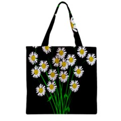 Bouquet Geese Flower Plant Blossom Zipper Grocery Tote Bag