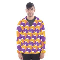 Pattern Background Purple Yellow Hooded Wind Breaker (men)
