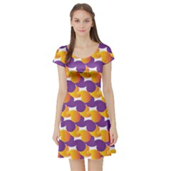 Pattern Background Purple Yellow Short Sleeve Skater Dress