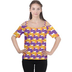 Pattern Background Purple Yellow Cutout Shoulder Tee