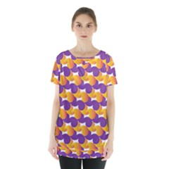 Pattern Background Purple Yellow Skirt Hem Sports Top
