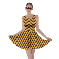 Chevron Brown Retro Vintage Skater Dress