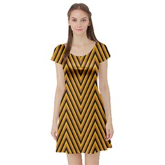 Chevron Brown Retro Vintage Short Sleeve Skater Dress
