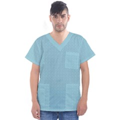 Blue Pattern Background Texture Men s V Neck Scrub Top