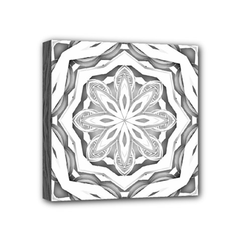 Mandala Pattern Floral Mini Canvas 4  X 4