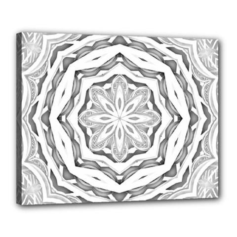 Mandala Pattern Floral Canvas 20  X 16