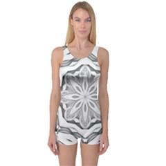 Mandala Pattern Floral One Piece Boyleg Swimsuit
