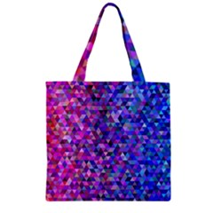Triangle Tile Mosaic Pattern Zipper Grocery Tote Bag