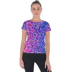 Triangle Tile Mosaic Pattern Short Sleeve Sports Top