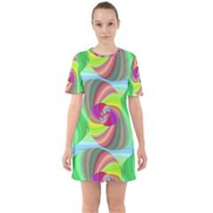 Seamless Pattern Twirl Spiral Sixties Short Sleeve Mini Dress