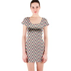 Chevron Retro Pattern Vintage Short Sleeve Bodycon Dress
