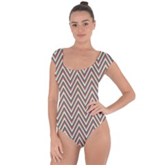 Chevron Retro Pattern Vintage Short Sleeve Leotard
