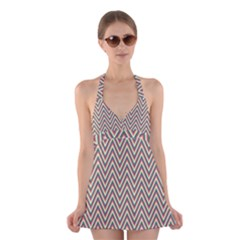 Chevron Retro Pattern Vintage Halter Swimsuit Dress