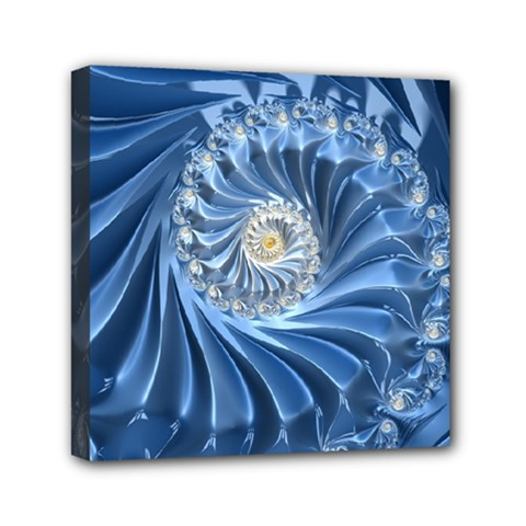 Blue Fractal Abstract Spiral Mini Canvas 6  X 6