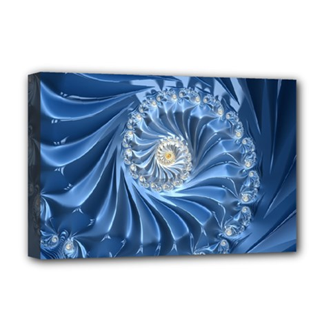 Blue Fractal Abstract Spiral Deluxe Canvas 18  X 12