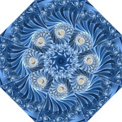 Blue Fractal Abstract Spiral Hook Handle Umbrellas (large)