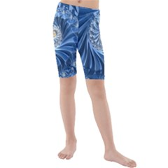 Blue Fractal Abstract Spiral Kids  Mid Length Swim Shorts