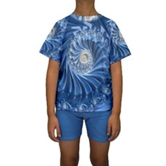 Blue Fractal Abstract Spiral Kids  Short Sleeve Swimwear