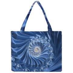 Blue Fractal Abstract Spiral Mini Tote Bag