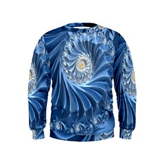 Blue Fractal Abstract Spiral Kids  Sweatshirt