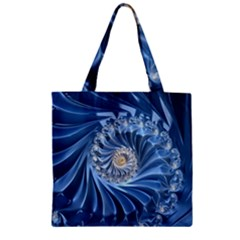 Blue Fractal Abstract Spiral Zipper Grocery Tote Bag