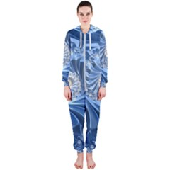 Blue Fractal Abstract Spiral Hooded Jumpsuit (ladies)