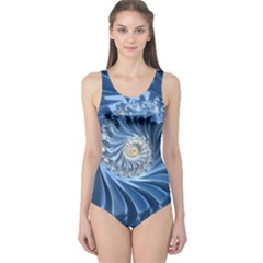 Blue Fractal Abstract Spiral One Piece Swimsuit