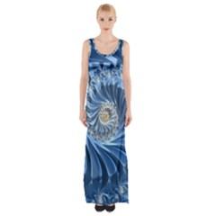 Blue Fractal Abstract Spiral Maxi Thigh Split Dress
