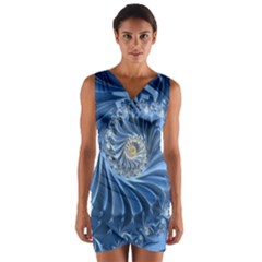 Blue Fractal Abstract Spiral Wrap Front Bodycon Dress