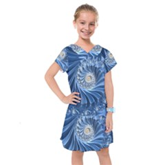 Blue Fractal Abstract Spiral Kids  Drop Waist Dress