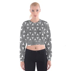 Seamless Pattern Repeat Line Cropped Sweatshirt