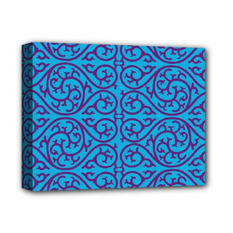 Monogram Blue Purple Background Deluxe Canvas 14  X 11