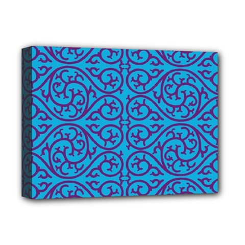 Monogram Blue Purple Background Deluxe Canvas 16  X 12