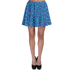 Monogram Blue Purple Background Skater Skirt