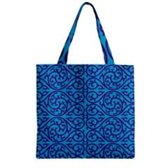 Monogram Blue Purple Background Zipper Grocery Tote Bag