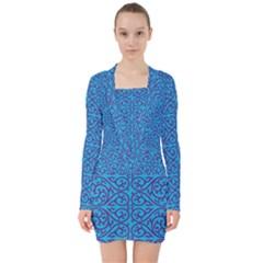 Monogram Blue Purple Background V Neck Bodycon Long Sleeve Dress