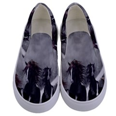 Awesome Wild Black Horses Running In The Night Kids  Canvas Slip Ons