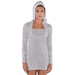 Seamless Pattern Monochrome Repeat Long Sleeve Hooded T Shirt