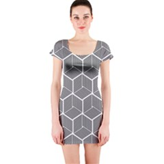 Cube Pattern Cube Seamless Repeat Short Sleeve Bodycon Dress